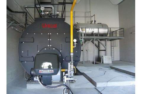 High pressure packaged steam boiler, genuine three-pass fire tube, horizontal, 90% efficiency