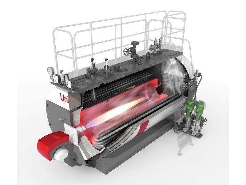 High pressure steam boiler, three pass reversed flame, smooth pipes with turbulators, 90% efficiency Unical - 1