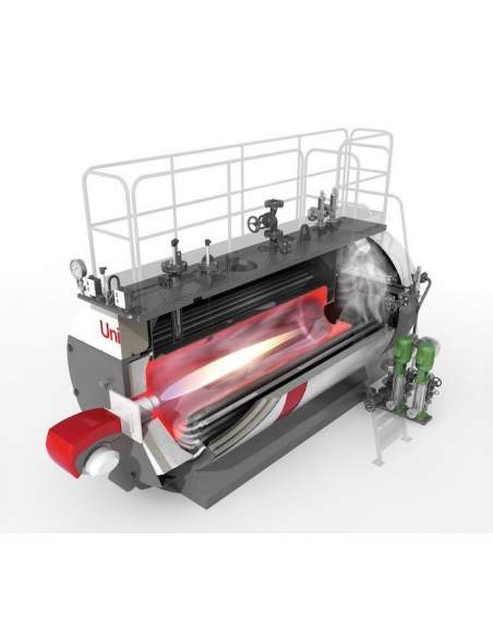 High pressure steam boiler, three pass reversed flame, smooth pipes with turbulators, 90% efficiency